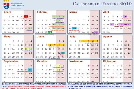 Calendario Julio 20019.Calendario De Fiestas 2019